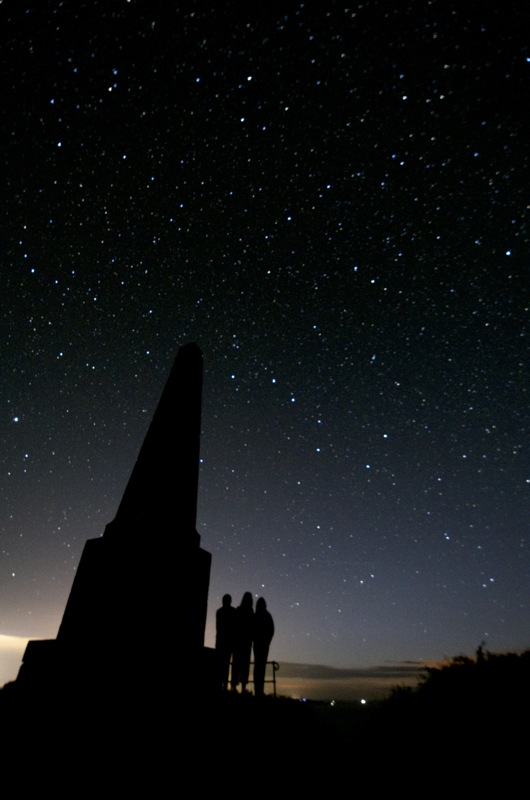 Star gazing at Pilcher monument, Sark, Channel Islands. Good view of the Plough and Pole Star.